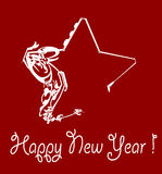 Star. New year star with red background Royalty Free Stock Photo