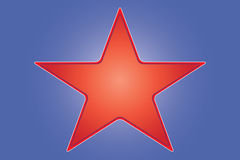 Star. Red star on blue background Royalty Free Stock Photography