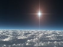 Star above the Clouds. A Christmas Star high above the Clouds. A great background