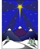 Star above Snowy Scene. Large star amongst smaller stars in sky above mountains and snowy scene stock illustration