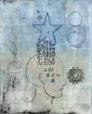 Star Alchemy. Monoprint of a human head with alchemical symbols coming through from a star Royalty Free Stock Photography