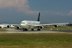 Star Alliance Airbus A340 Plane. Turkish Airlines Star Alliance Airbus A340 Plane Stock Photography
