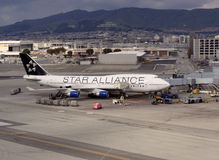 Star Alliance United plane rest at terminal at SFO royalty free stock photos