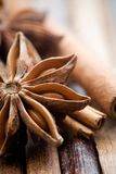 Star anis. On brown background, shallow focus Royalty Free Stock Photos