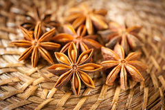 Star anis. On brown background Stock Photo