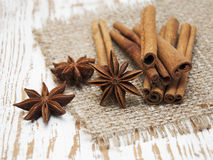 Star anis and cinnamon stick. On a wooden background royalty free stock photos
