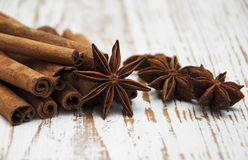 Star anis and cinnamon stick Royalty Free Stock Image