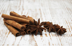 Star anis and cinnamon stick Stock Photos