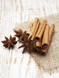 Star anis and cinnamon stick. On a wooden background royalty free stock photo