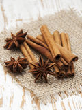 Star anis and cinnamon stick. On a wooden background stock photo