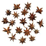 Star anise. Dry star anise composition on white background aromatic Stock Photos