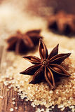 Star anise on brown sugar Stock Images
