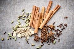 Star anise Cardamom nutmeg cinnamon ginger clove spice canvas royalty free stock photo