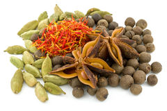 Star anise , cardamom, saffron ,black allspice Royalty Free Stock Photos