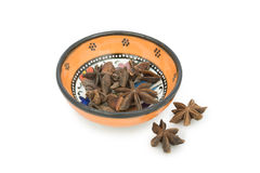 Star anise in ceramic bowl Stock Images