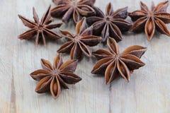 Star anise on a chopping board Stock Photos