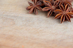 Star anise on a chopping board Stock Photography