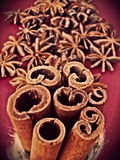 STAR ANISE WITH CINAMMON ROLLS Stock Images
