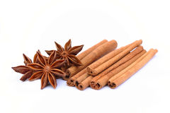 Star anise and cinnamon Stock Photos