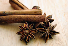 Star anise and cinnamon Royalty Free Stock Photos