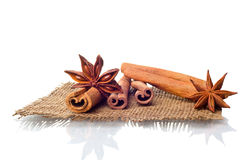 Star anise and cinnamon Stock Photos