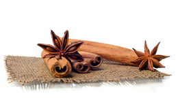 Star anise and cinnamon beer ingredients Royalty Free Stock Photos