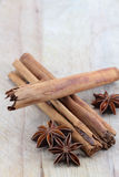 Star anise and cinnamon on a chopping board. A composition with some star anise and three cinnamon sticks on a wooden chopping board, space for text on top Royalty Free Stock Photo