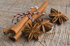 Star anise with cinnamon at christmas time. (selective focus Stock Photos
