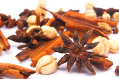 Star anise, cinnamon, cloves and other spices. On white background Stock Photo