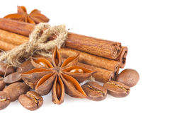 Star anise with cinnamon and coffee seed Stock Images