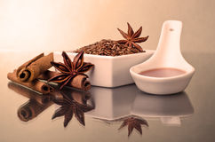 Star anise, cinnamon and flax Royalty Free Stock Image