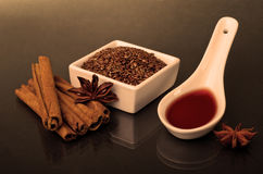 Star anise, cinnamon and flax Royalty Free Stock Photo