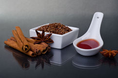 Star anise, cinnamon and flax Stock Images