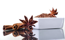 Star anise, cinnamon and flax Royalty Free Stock Photos