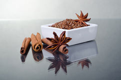 Star anise, cinnamon and flax Royalty Free Stock Photography