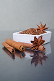 Star anise, cinnamon and flax Stock Photography