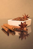 Star anise, cinnamon and flax Royalty Free Stock Images
