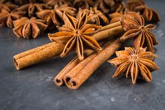 star anise and cinnamon on the gray background Royalty Free Stock Image