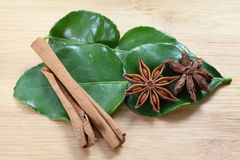 Star anise, cinnamon and kaffir lime Stock Photography