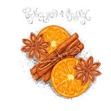 Star anise, cinnamon and orange Royalty Free Stock Photos