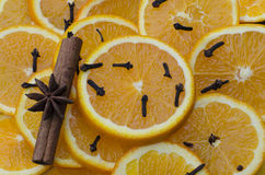 Star anise with cinnamon and oranges Royalty Free Stock Photos