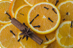 Star anise with cinnamon and oranges Royalty Free Stock Photo