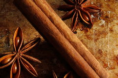 Star anise and cinnamon stick Royalty Free Stock Photo