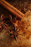 Star anise and cinnamon stick Royalty Free Stock Photos