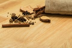 Star anise, cinnamon stick with spices and dried ginger stock photo