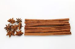 Star Anise and Cinnamon Sticks Stock Photo