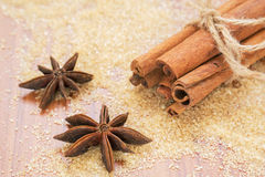 Star anise and cinnamon sticks on brown sugar Royalty Free Stock Image