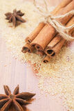 Star anise and cinnamon sticks on brown sugar Royalty Free Stock Photo