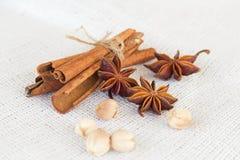 Free Star Anise  Cinnamon Sticks  Cardamon Seeds Stock Images - 59622204