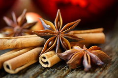 Star anise and cinnamon sticks at christmas time Stock Images